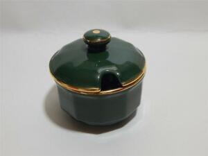 "Apilco, French Bistro Green and Gold, Lidded Sugar Bowl or jam pot 4"" / 10cm rim"