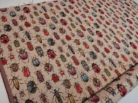"""Bugs Ladybirds Beetles 'Tapestry"""" Designer Fabric Upholstery Curtains Cushions"""