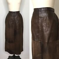 Vintage 80s Banana Republic Leather Midi Skirt Size Medium