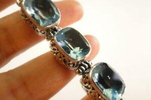 Blue Topaz Ornate Balinese Sterling Silver Toggle Bracelet