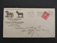 Illinois: Chicago 1904 Jacob Koehler Farm Horse & Mules Advertising Cover