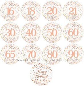 """Sparkly 18"""" Rose Gold + White Foil Helium Balloon Birthday Party Decorations"""