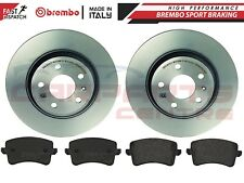 FOR AUDI A4 B8 A5 2008- REAR SOLID BREMBO BRAKE DISCS AND BREMBO PADS SET 300mm