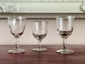 Set Of 3 Hand Blown Late 19th C. Victorian Lens Cut Wine Glass Rummers C1870