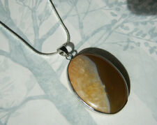 Caramel Agate Stone Necklace Pendant Natural Earth Polished Bezel Snake Chain