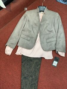 """NINE WEST PANT SUIT/NEW WITH TAG/RETAIL$280/INSEAM 31""""SIZE 14/suede BLAZER"""