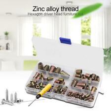 100pcs/Kit Zinc Alloy Thread For Wood Insert Nut Flanged Hex Drive Head Nuts
