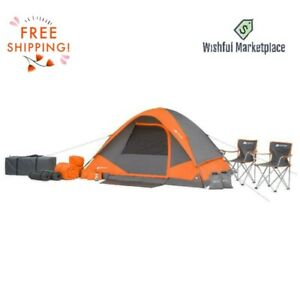 22-Piece Camping Tent 4 People Sleeping Bags Foam Pads Chairs Free Shipping New