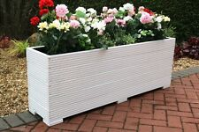 LARGE WOODEN GARDEN PLANTER TROUGH  PAINTED IN CUPRINOL WHITE 140cm LONG DECKING
