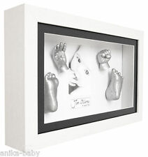 New 3D Large Baby Casting Kit + White Deep Box Frame Photo Keepsakes Memory Gift