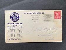 1916 MARSHFIELD WI MACHINE CANCEL UNUSUAL ! WESTERN EXPRESS MONEY ORDER AD -FL !
