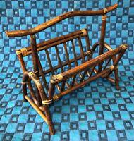 Ancien Porte Revues Vintage En Rotin Ton Foncé H 45 L 55 l 28,5 Cm #4