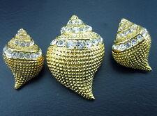 KJL Kenneth Jay Lane Crystal Glass Stone Chunky Seashell Cast Pin & Earring Set