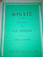SONATE EN SOL POUR PIANO PA G.B GRABAZIOLI Révision NOEL GALLON Edition PHILIPPO