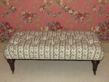Upholstered Tufted Leeds Bench Georgian Court Cherry Fluted Feet Brass Casters
