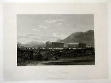 1818 Paestum Capaccio tempio veduta stampa antique print acquaforte Hakewill