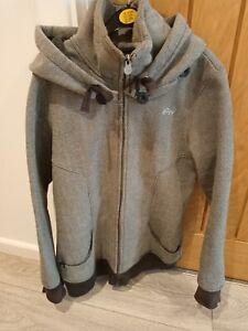 ladies roxy jacket with hood, grey, size large