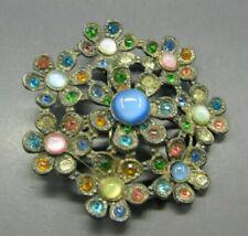 Vintage POT METAL BROOCH PIN Czech Glass FAUX MOONSTONE CAT'S EYE Flower CABS
