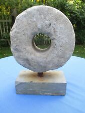 Antique Mounted Grinding Millstone on Stone Base. Stone Sculpture.