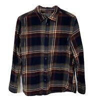 Mens Eddie Bauer 100% Cotton Flannel Long Sleeve Plaid Shirt XL Blue Gray Red