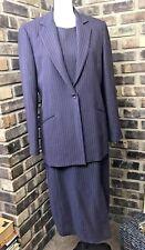 Oscar De La Renta Women 2 Piece Set Purple Dress w Blazer Jacket  SIze 10 12 AE