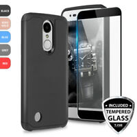 For LG Fortune 2 Shockproof Rubber Slim Phone Case+Black Tempered Glass Screen