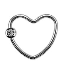 316L Surgical Steel Nose Hoop Heart Nose Screw Ring CZ Gem Daith Helix Piercings