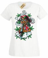 Jamaican Womens T-Shirt rasta weed high smoke Ladies top bong