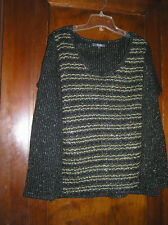 MISS ME SCOOP NECK SWEATER SPARKLY STRIPED WOOL BLEND SZ M 1217 bae1ee296