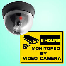 Dummy Fake CCTV Security Dome Camera Red LED Flash Strobe Light Warning Sticker