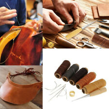 14Pcs Leather Craft Hand Stitching Sewing Tool Thread Awl Cord Thimble Waxed Kit