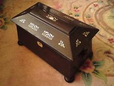 Antique William IV /Victorian Sarcophagus Tea Caddy wood mother of pearl & key