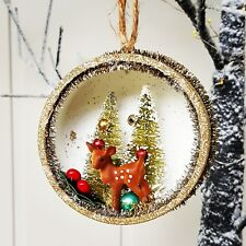 Gisela Graham vintage sparkly gold bristle Bambi reindeer 3D Christmas ornament