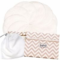 Reusable Nursing Pad Set - 10 x Bamboo Pads, 2 Pocket Wet Bag & Laundry Bag