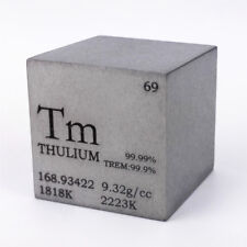 1 inch 25.4mm Varnished Thulium Metal Cube 99.99% 152g Engraved Periodic Table
