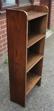Compact Edwardian antique Arts Crafts solid oak open library bookcase shelving