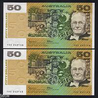 AUSTRALIA R-509b. (1985) 50 Dollars - Johnston/Fraser. OCRB..  UNC - CONSEC Pair