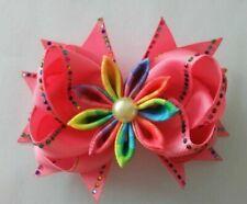 "4 BLESSING Girl 4.5"" Shine Hair Bow Clip Rhinestone Rainbow Pearl Flower C"