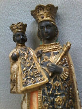 LARGE ANTIQUE BLACK MADONNA OF ALTÖTTING PRIESTS FIGURINE STATUE