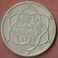 1329 (1911) Morocco 1/4 Rial~ 83.5% Silver~ In Good Shape-  Beauty~