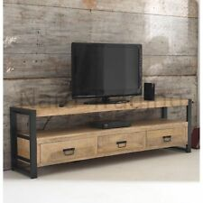 Harbour Indian Reclaimed Wood And Metal Furniture Extra Large TV Cabinet Unit