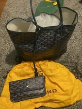 /*/*/Goyard Saint Louis PM Leather Tote Hand Bag Black W/ Pouch Used
