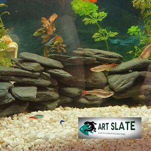 Art Slate 2kg Fish Tank Aquarium Natural Stone Dark Pebbles Decoration Gravel