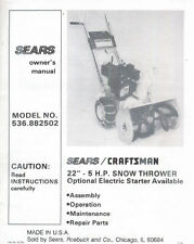 """Sears 22"""" 5 H.P Snow Thrower Blower MANUAL 536.882502 *FREE S/H*"""