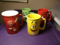 M&M Cup/Mug  2011 Red Green Yellow Coffee Set Of 3 + 2006 M&M World Cup