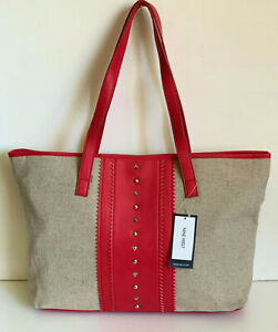 NEW! NINE WEST BOHEMIAN BREEZE NATURAL BROWN RED SHOPPER TOTE BAG PURSE $85 SALE