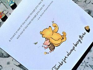 Winnie the Pooh Sentiment Card - Thank You / Friendship / Appreciation Card