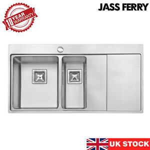 JASSFERRY Premium 1.2mm Stainless Steel Kitchen Sink 1.5 Square Bowl 1000 X 520