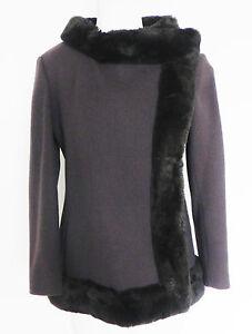 Vtg Erlebacher Heavy Weight Blazer/Jacket Wool Faux Fur Trim Brown Size US S