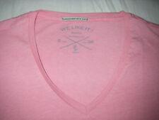 2 T-shirt BERSHKA khaki & rose pink kaki col V neck Taille size Small